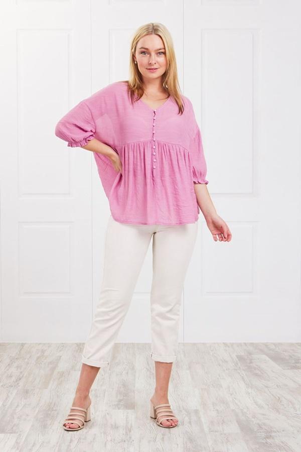 Button babydoll blouse