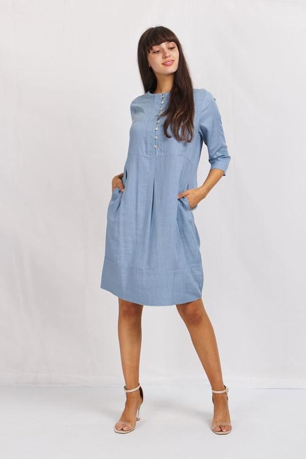 Button Front Linen Dress