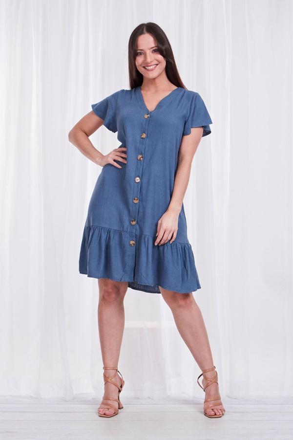 BUTTON FRONT PEPLUM DRESS