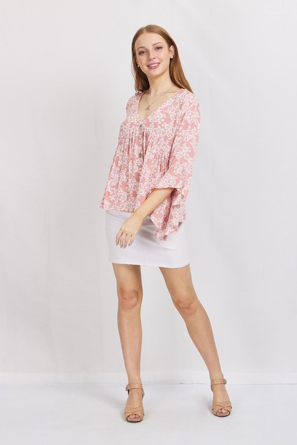 BUTTON FRONT PRINTED BLOUSE