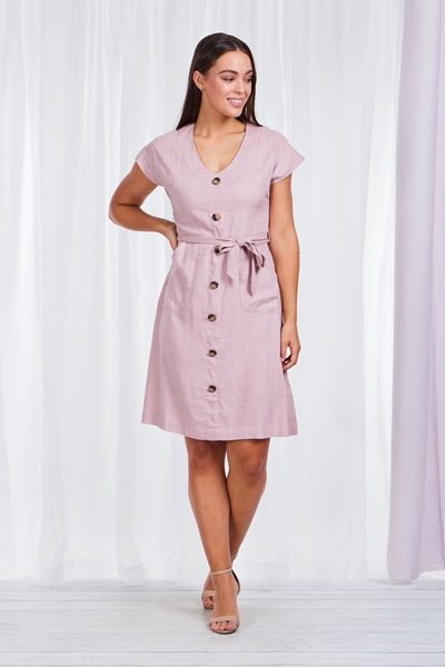 BUTTON FRONT UTILITY DRESS