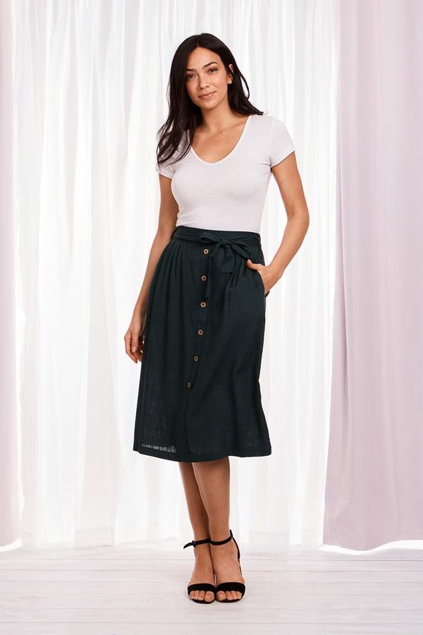 Button through Midi Skirt