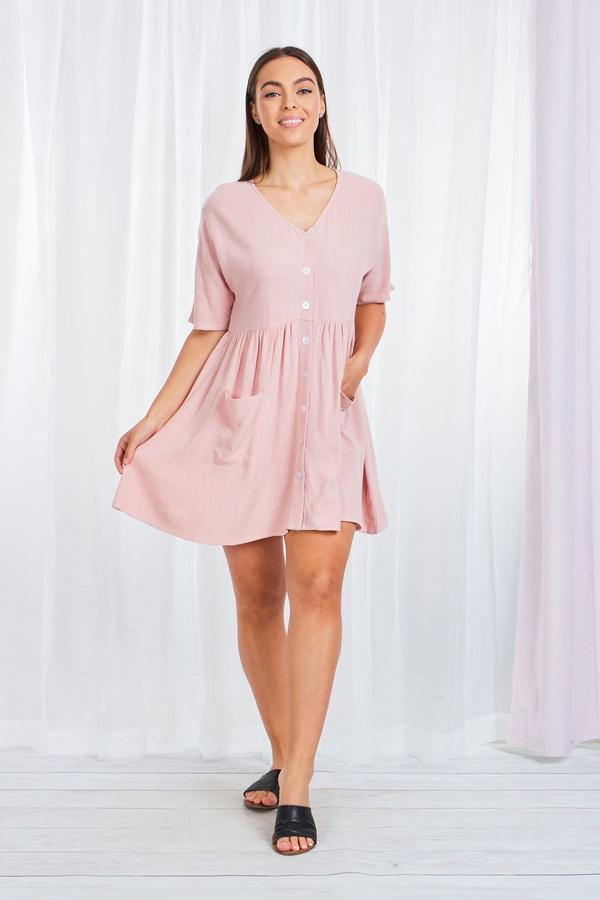 Button Through Smock Dress