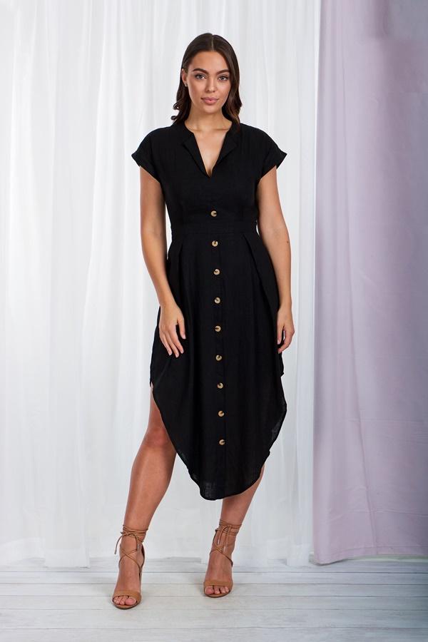 Button Up Draped Dress