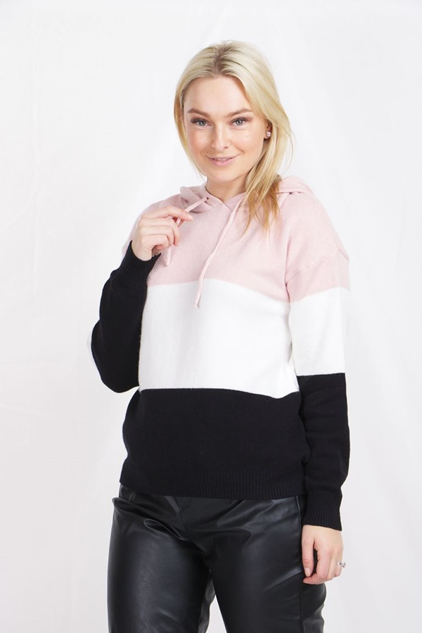 COLOUR BLOCK KNITTED HOODIE