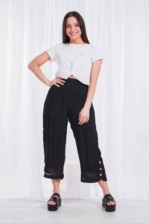 Crop pants with side button detail