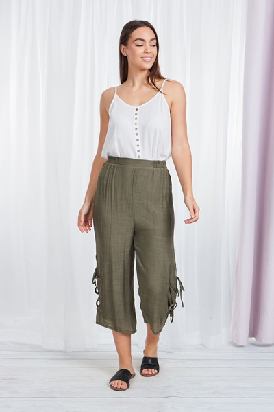 Crop pull up pants