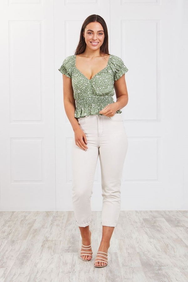 Cropped shirred top
