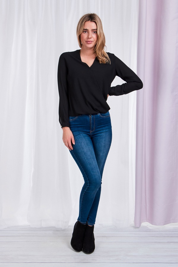 Crossover neck blouse