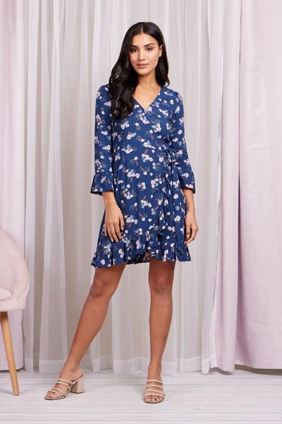 Ditsy floral wrap dress