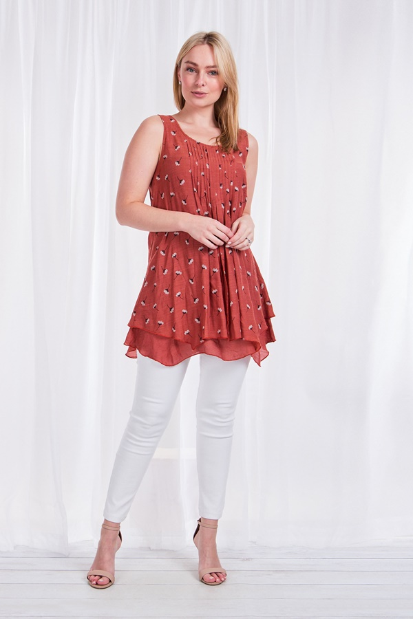 DOUBLE LAYER PRINTED TUNIC