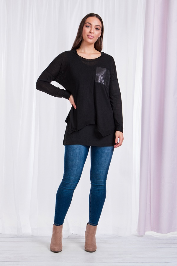 DOUBLE LAYER SEQUIN POCKET TOP