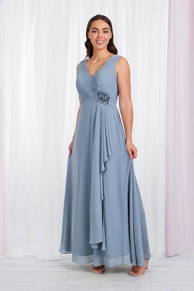 DRAPED FRONT MAXI DRESS