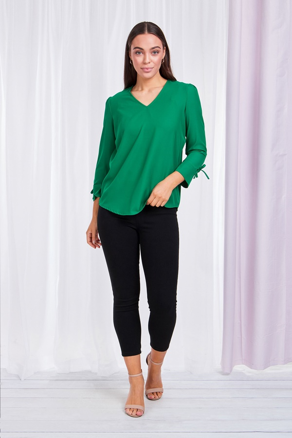 Drapey Gathered Sleeve Blouse