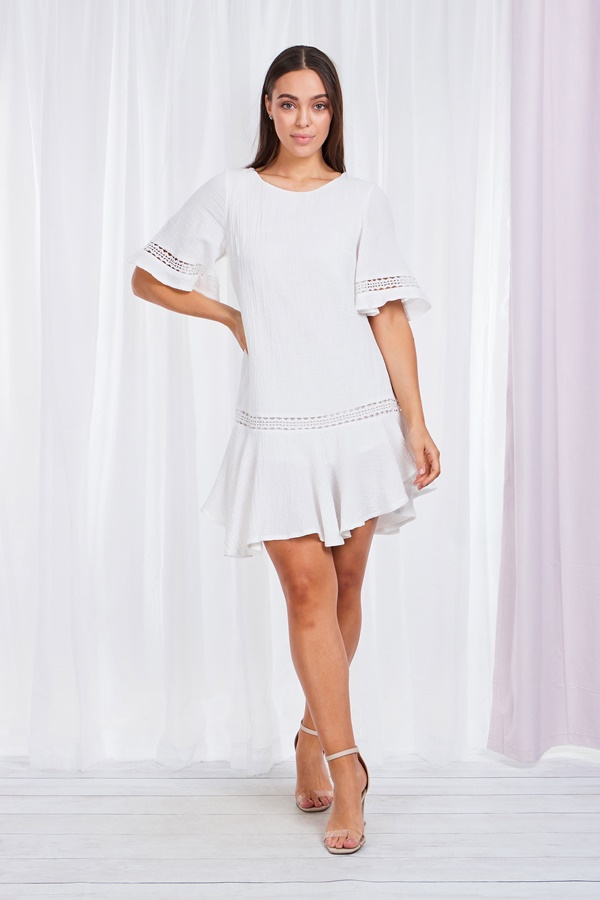 Embroidered Trim Dress