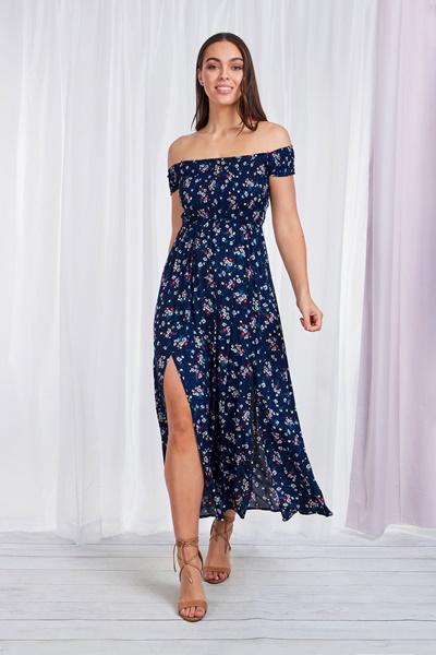 FLORAL BARDOT MAXI DRESS