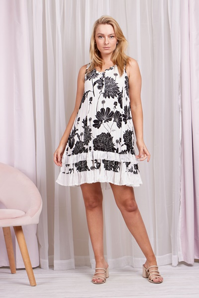 Floral Crinkled Sun Dress