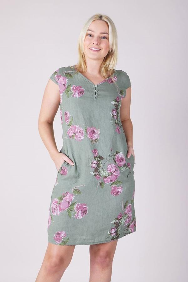 FLORAL LINEN SHIFT DRESS