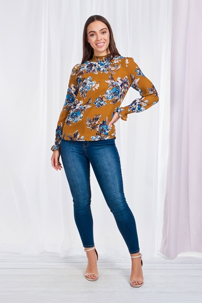 Floral Long cuff sleeve blouse