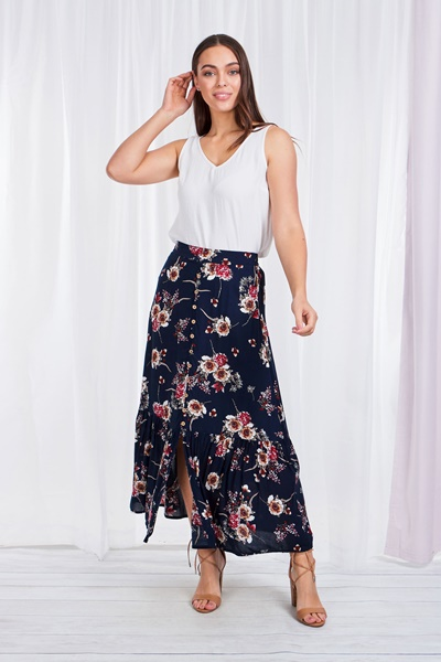FLORAL PULL-UP MAXI SKIRT