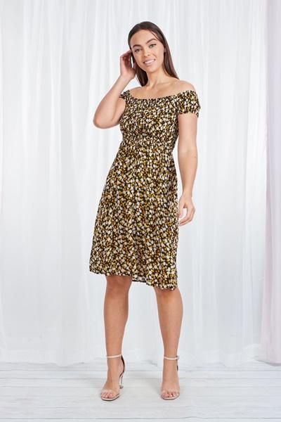 FLORAL SHIRRED DRESS