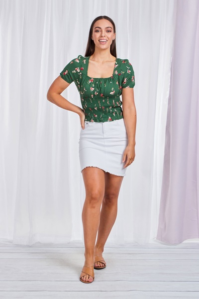 Floral Shirred Milkmaid Top