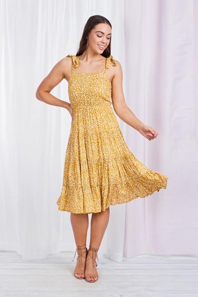 FLORAL Tiered Tie shoulder dress