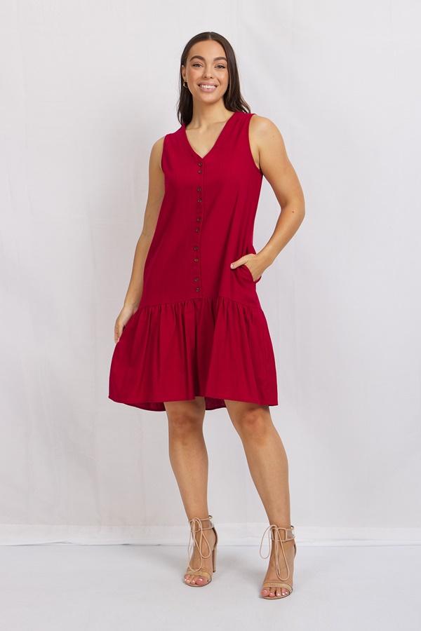 Frill Hem Linen Blend Dress