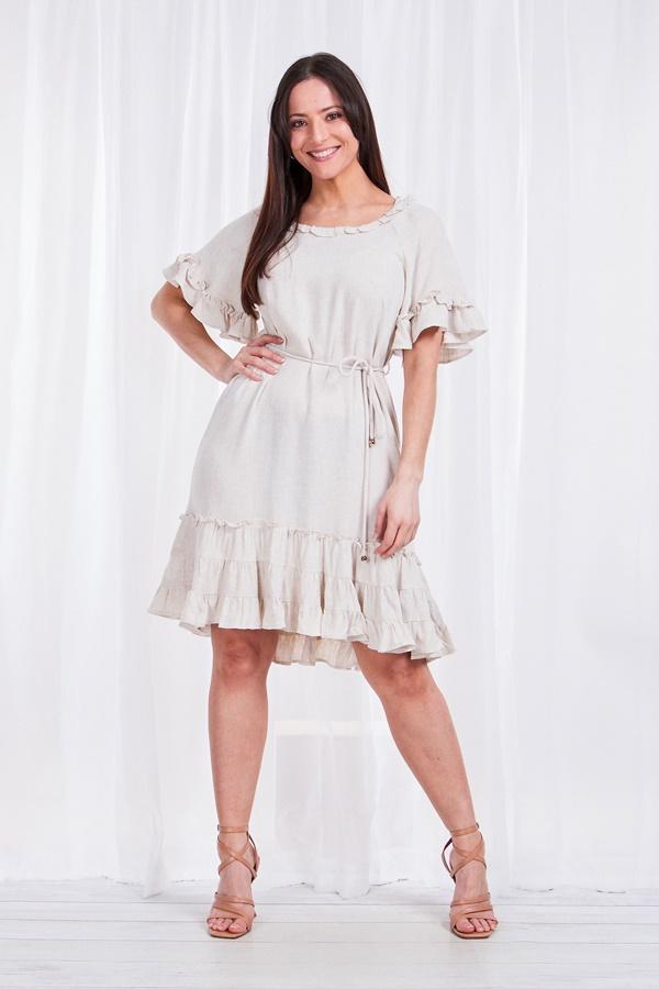 Frill linen dress
