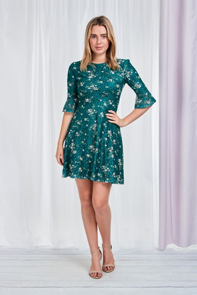 Frill sleeve floral Lace Dress