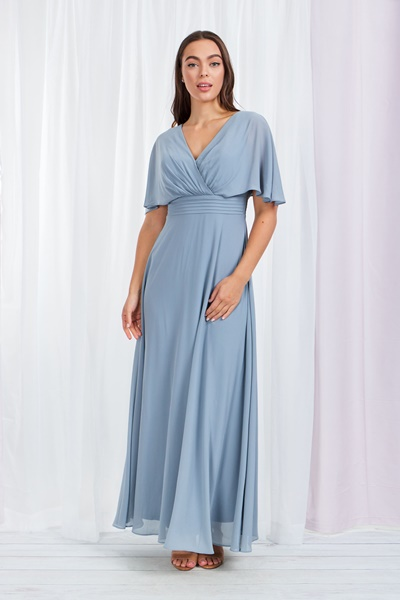 FRILL SLEEVE GRECIAN MAXI DRESS