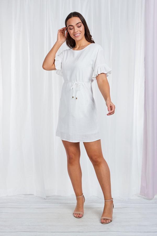 Frill sleeve short dress
