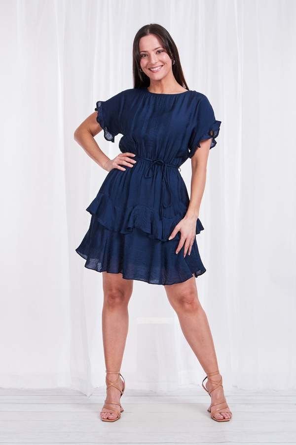 FRILL SLEEVE TIE WAIST DRESS