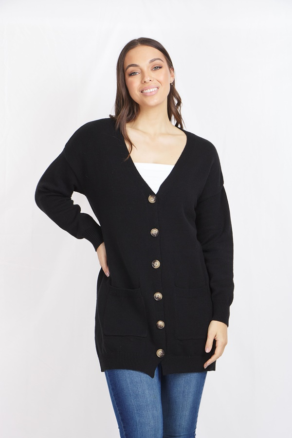 FRONT BUTTON KNIT CARDIGAN