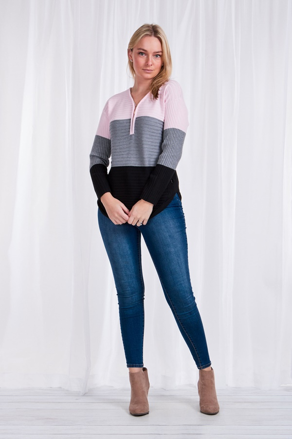 Front Zip Colour block Jumper