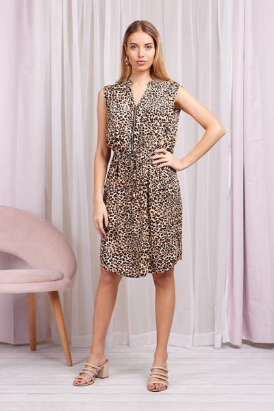 Front Zip Leopard Dress