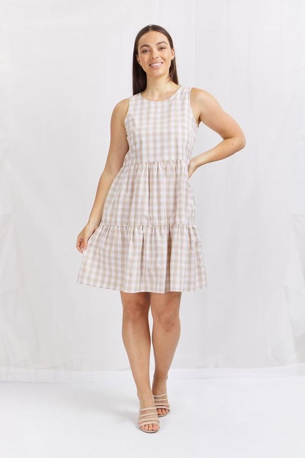 Gingham tiered short dress