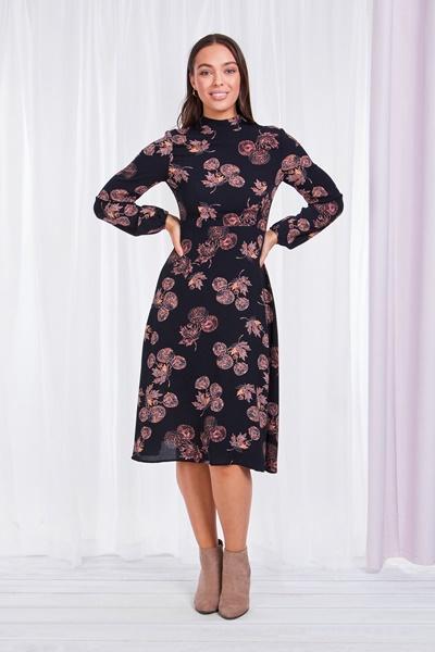 High neck dandelion print dress