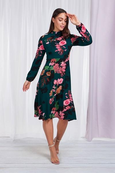 High neck floral tea dress