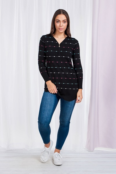 Knitted Zip Neck Top