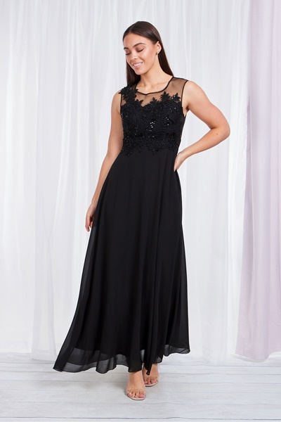 LACE BODICE GOWN WITH SHEER BACK
