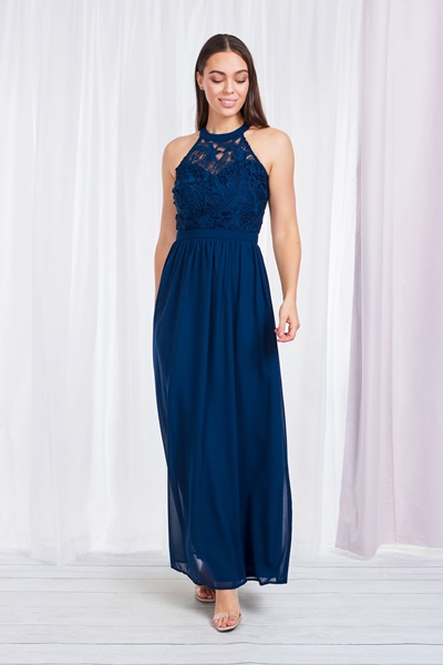LACE BODICE HALTER NECK GOWN