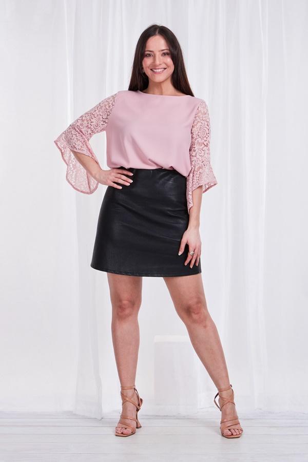 Lace flute sleeve blouse