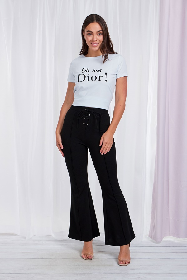 LACE UP FRONT FLARE LEG TROUSER