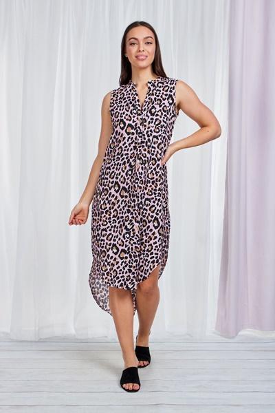 LEOPARD PRINT SHIRT DRESS