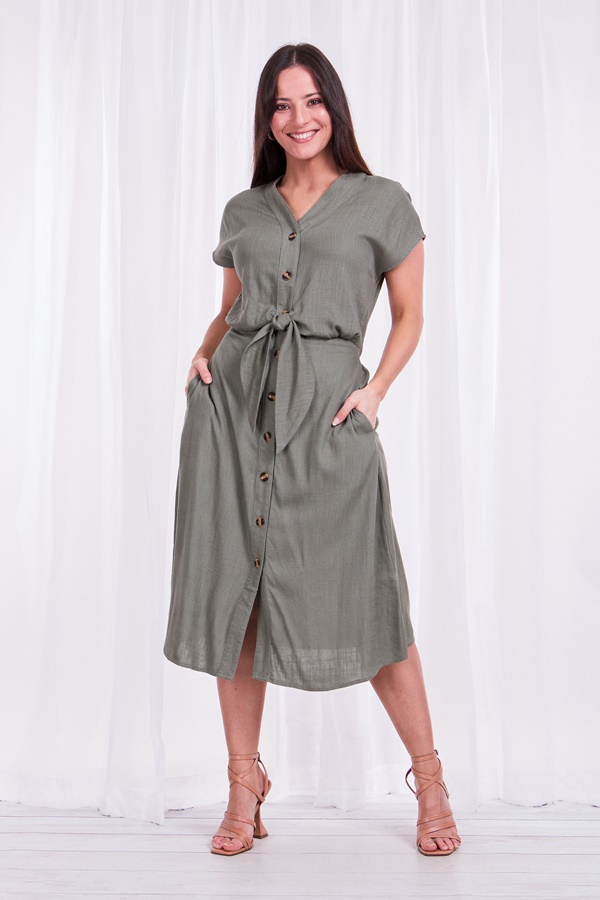 Linen blend knot midi dress