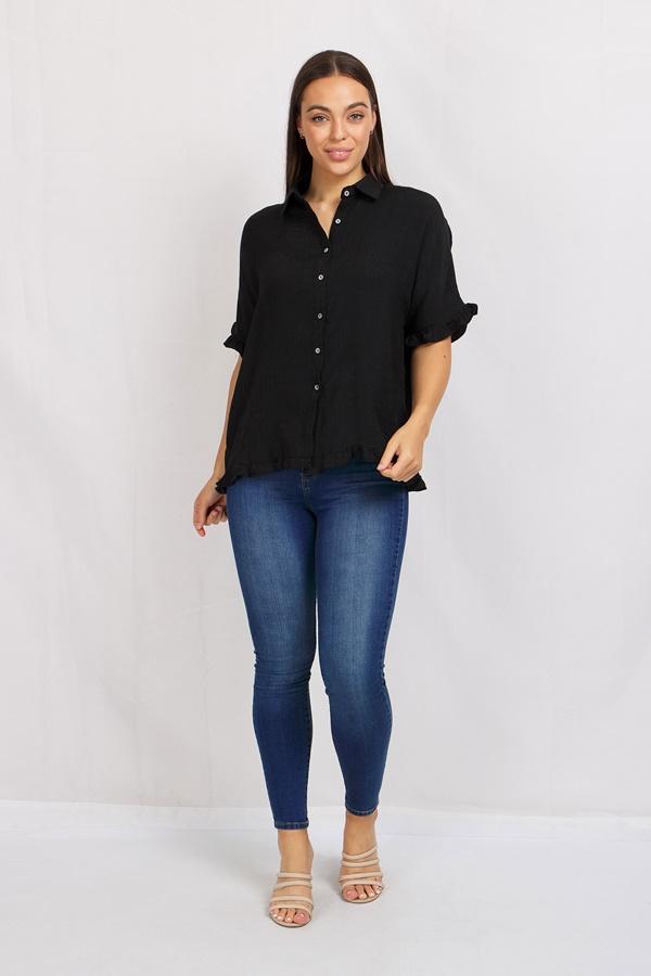Linen Button Front Shirt