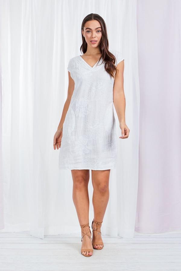 Linen Self Embroidery short dress