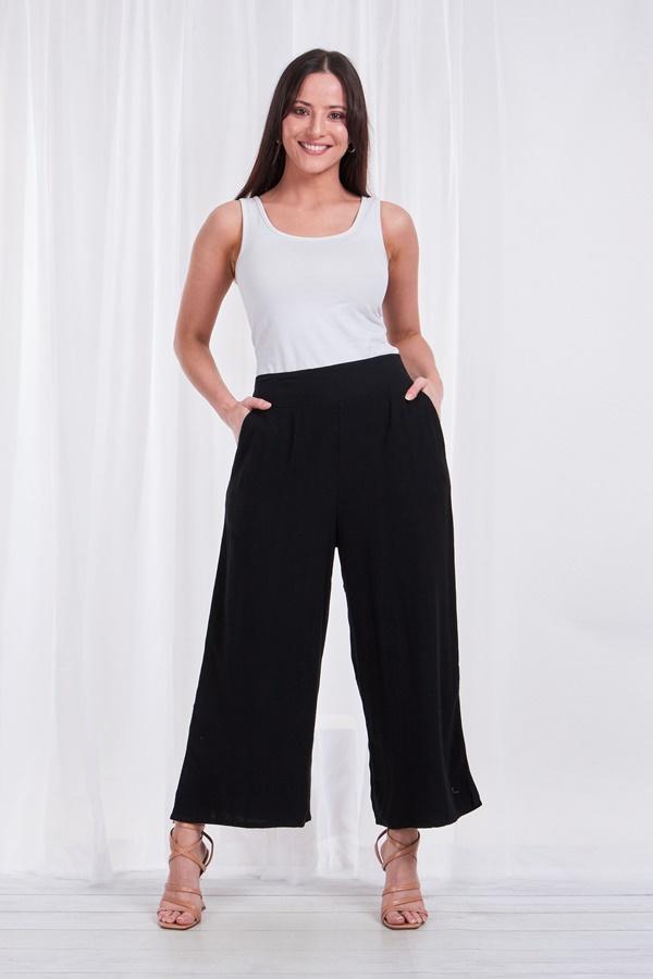 Linen wide leg crop pants