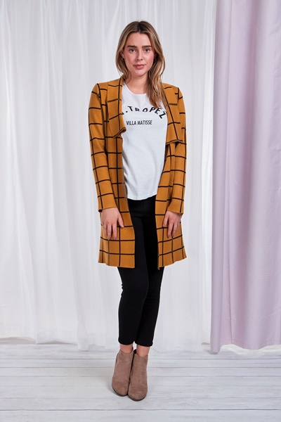 Long sleeve check pattern cardigan